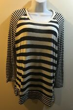 RUE+ 21  WOMEN'S Black STRIPED TOP/blouse Long Sleeves  Size XL New