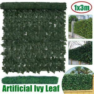 1x 3m Artificial Ivy Ivy Leaf Hedge Panels Garden Fence Screening Privacy Wall