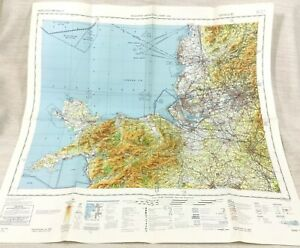 1985 Military Map of Wales Liverpool Manchester RAF Aviation Aeronautical Chart