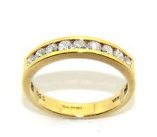 mujer, 18ct 18 Quilates Oro Anillo Medio Sin Fin Diamante Reino Unido Tamaño L