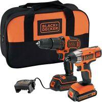 Black & Decker 18V 1.5Ah Li-ion Combi Drill & Impact Driver Twin Pack 2 Batterys