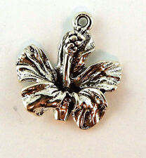 .925 Sterling Silver Hibiscus Flower charm