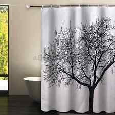 Big Black Tree White Landscape Bathroom Shower Curtain with 12 Hooks 180x180cm