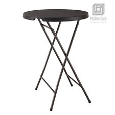 "Plastic Bar Height Folding Table Portable Round Bistro Patio Table, 32"" x 43"""