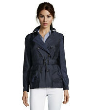 Burberry Brit Peasdale Short Trench Coat Navy Blue Size 2 $695