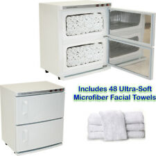 White 2 Cabinet Hot Towel Warmer UV Sterilizer w/ 48 Hand Towels Salon Equipment