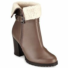M&S High Heel FUR COLLAR ANKLE BOOTS with Rugged Sole ~ Size 4 ~ MINK