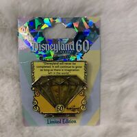 Disneyland 60th Anniversary YELLOW Diamond Pin Walt Disney LE 3000 NEW