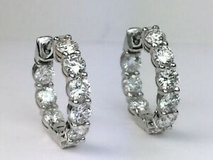 18K White Gold 1.83 Ct Natural Round Diamond Huggie Inside Out Hoop Earrings
