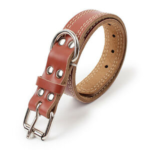 Genuine Cow Leather Pet Dog Collar Solid Color Double Lines Large Dog Collar
