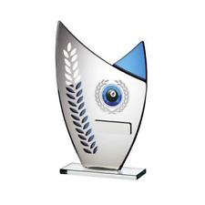 Blue Mirror Glass Trophy Asymmetric Peak Multi Sport Mirror Award FREE Engraving
