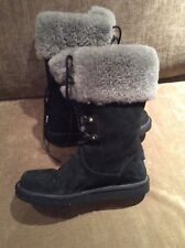 UGG S/N 1892 Black Leather Sherling Lined Mid-Calf Boot Women Sz 8 / 39