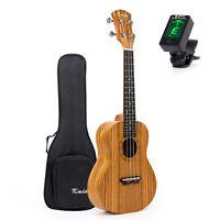 23 Inch Kmise Concert Ukulele Ukelele Hawaii Guitar Zebrawood Bag & JOYO Tuner