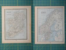 Ireland Sweden Norway Vintage Original 1893 Columbian World Fair Atlas Map Lot