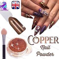 COPPER NAILS POWDER BRONZE Mirror Chrome Effect Pigment Nail Art UK SELLER (u)