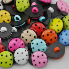 100 pcs Mix Color resin ladybug Button Sewing Craft Scrapbook Garment DIY PT39