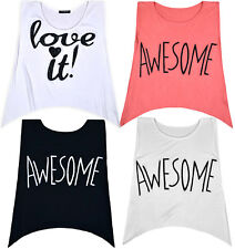 Ladies New Sleeveless Vest T-shirt Womens Crop Top Summer Holiday Blouse S/M M/L
