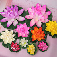 Artificial Lotus Water Lily Floating Flower Pond Pool Plant Home Garden Decor