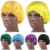 Women Wide Elastic Band Satin Night Sleep Cap Hair Silk Hat Cover Bonnet X7O8