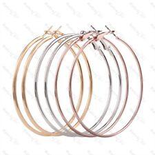 LARGE 70mm HOOP EARRINGS thin metal BIG PLAIN HOOPS 7cm  SILVER/ROSE/GOLD PLATED