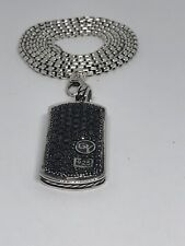 Men/Womans 22 Inch Necklace/Chain 925 S/S David Yurman Black Diamond Dog Tag