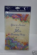 8 CARDS ENVELOPES HAPPY 30TH BIRTHDAY PARTY INVITATIONS DATE TIME PLACE
