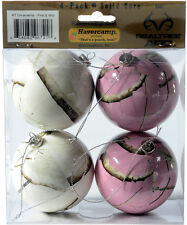Realtree Camo Christmas Ornaments - Pink White Snow Camouflage Holiday Decor