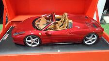 FERRARI 458 SPIDER cabriolet rouge Maranello 1/18 MR FE06F voiture miniature col