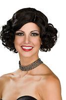 Womens Short Curly Black Wig Flapper 20s 1920s Speakeasy Curls Halloween Costume