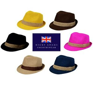 Sun Hat Trilby Mens Ladies Hessian Lightweight Sun UV Lined Womens Girls NEW