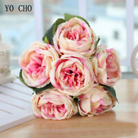 Artificial Peony Silk Rose Red Wedding Flowers White Bridal Bouquet Home Decor