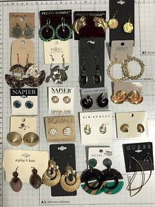 Resellers Lot of 20 Dangle & Post Earrings Designer Rhinestones Vintage - Modern
