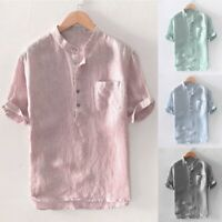 Men's Summer Stripe Cotton Linen Short Sleeve Button Pocket T Shirts Tops Blouse