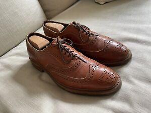 Used Allen Edmonds McTavish Wingtip Brogue Oxford Tan Shoes 9.5D Lug Soles