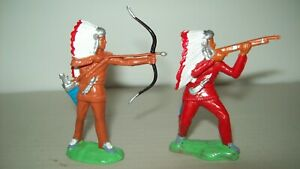 Two out of production Reisler hard plastic factory painted  Plains Indians