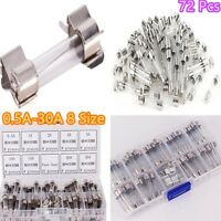 Car Electrical Components Fast Quick Blow Glass Tube Fuse 250V 0.5A-30A 6*30mm