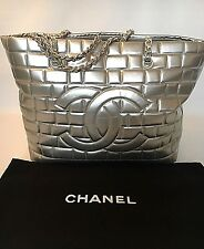CHANEL Authentic Classic Caviar Quilted Leather Silver Grand Shopper Tote Bag XL