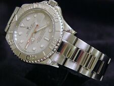 Rolex Yacht Master Mens 40mm Stainless Steel Watch Platinum Dial & Bezel 16622