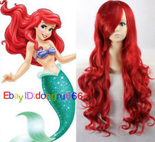 Disney Little Mermaid Princess Ariel Red Wig Long Curly for Kids Children Adult