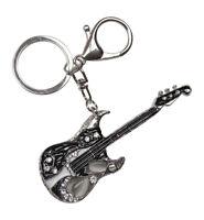 Porte-clés, bijoux de sac guitare argenté et noir avec pierres couleur lune.