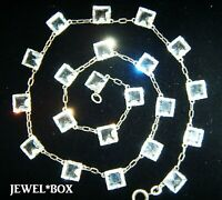 SIGNED NOVOPLATIN ART DECO Diamond Paste Open Bezel Set Vintage RIVIERE NECKLACE