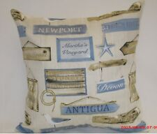 "2 X NAUTICAL CUSHIONS COVERS BY PRESTIGIOUS TEXTILES ""HABOUR"" 100%COTTON. 16"""