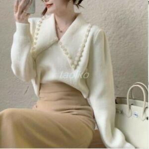 Womens 2pcs Suits Tops Skirts V Neck Long Sleeve Blouse Dress Spring High waist