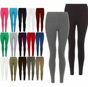 Womens Ladies Full Length Leggings Black + Colours Cotton Plain