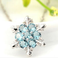Fashion Women Blue Crystal Snowflake Flower Silver Necklace Pendant