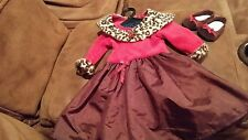 American Girl Brown Red Dress Outfit RETIRED Animal Print Trim  RARE EUC