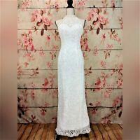 Wedding Dress Size 6 S Ivory Lace Form-fitting Halter Beaded Sequin Keyhole Back