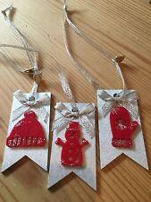 3 x Regalo di Natale decorazione da appendere TAG TAG pacco regalo fatto a mano argento