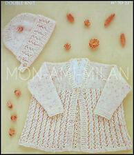 "Vintage Knitting Pattern • Baby Lacy Matinee Coat,Bonnet • Babies Girls • 16-22"""