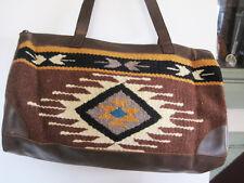 Artisan Handwoven Wool SOUTHWESTERN Brown Design Weekender Bag faux leather